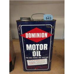 Vintage 1 Gallon Dominion Motor Oil Can