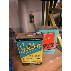 Vintage 1 Gallon Linseed & Turpentine Cans