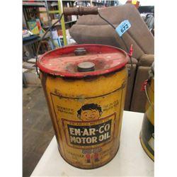 Vintage 35 LB En-Ar-Co Motor Oil Can