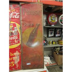 Vintage Pause Drink Coca-Cola Metal Sign