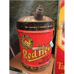 Very Rare Vintage Red Head 5 Gallon Motor Oil Can