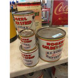 5 Vintage Rogers' Golden Syrup Cans
