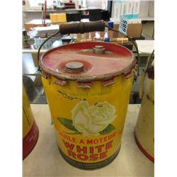 Vintage 5 Gallon White Rose Motor Oil Can