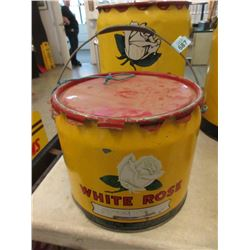 Vintage 25 LB White Rose Grease Can
