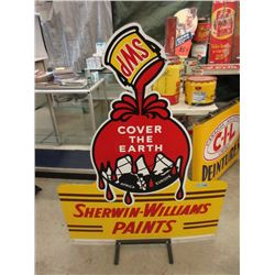 Vintage Enamel Sherwin-Williams Sign on Stand