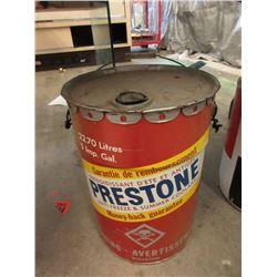 Vintage 5 Gallon Prestone Anti-Freeze Pail