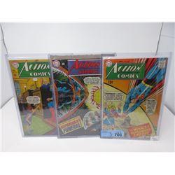 """3 Vintage 12¢ """"Action"""" DC Comics"""