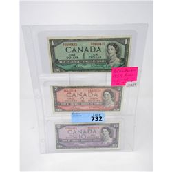 Three 1954 Canadian Bank Notes - $1, $2 and $10