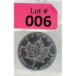 1 Oz 1999 Canada Maple Leaf .9999 Fine Silver Coin