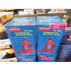 2 New 10 Ton Hydraulic Bottle Jacks