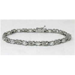 Ladies White Topaz & Diamond Tennis Bracelet