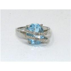 4.5 CT Blue Topaz & Diamond Crossover Design Ring