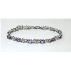 Oval Cut Amethyst & Diamond Tennis Bracelet