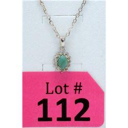 Sterling Silver Emerald & Diamond Pendant