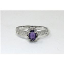 Sterling Silver Amethyst & Diamond Ring