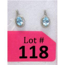 New Blue Topaz & Diamond Sterling Silver Earrings