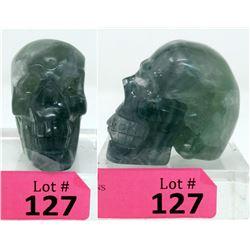 1371 CT 3D Carved Fluorite Gemstone Skull