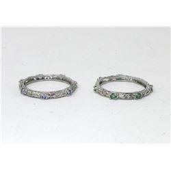 1 Tanzanite & 1 Emerald Sterling Silver Ring