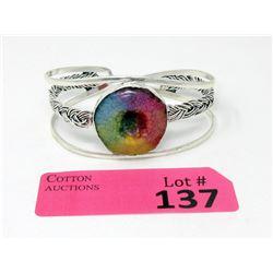 Large Rainbow Druzy Gemstone Cuff Bangle Bracelet