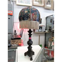 """30"""" Metal Table Lamp with Fringe Shade"""