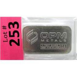 1 Oz. Ohio Precious Metals .999+ Silver Bar