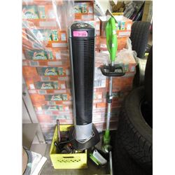 Tower Fan/Heater, Weed Eater & Box of Tools