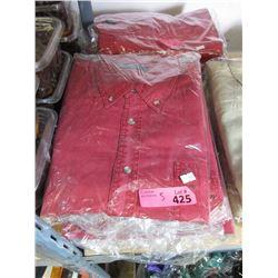 5 New Red Denim Shirts - Size XXL