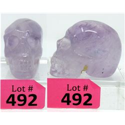 Hand Carved Amethyst Quartz Skull