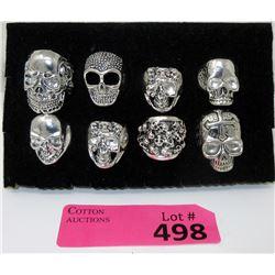 8 New Biker Skull Rings - Sizes 8 through 10