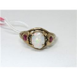 10KT Yellow Gold Opal and Ruby Ring