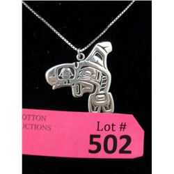 Sterling Silver Haida Killer Whale Necklace