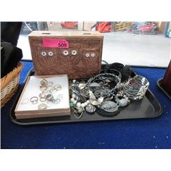 Wood Keepsake Box and Assorted Jewelry