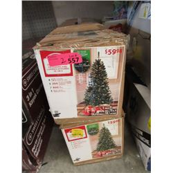 Two 6.5 Foot Illuminated Christmas Trees