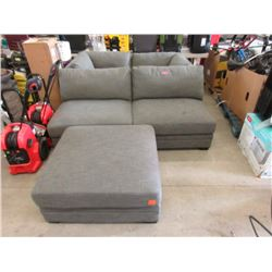 5 Piece Grey Fabric Sectional Sofa - Store Return