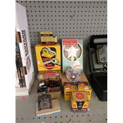 Vintage Office Supplies & Christmas Decorations