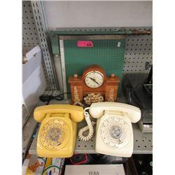 Vintage Phones, Paper Cutter & Clock