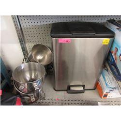 Garbage Can & 6 KitchenAid Stand Mixer Bowls