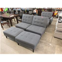 6 Pieces of Grey Fabric Upholstered Furniture