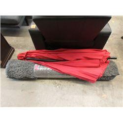 Patio Umbrella & Grey Shag Carpet - Store Returns