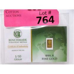 """1/10 Gram  999.9 Fine Gold USA """"Benchmark"""" Bar"""