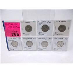 Seven .800 Silver Canadian Quarter Set 1945-1951
