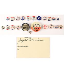 Dwight D. Eisenhower Campaign Buttons and Signature