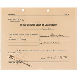 Frank Nitti Signed Court Document