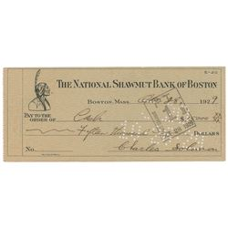 Charles Solomon Signed Check and His Murderer's Wanted Card