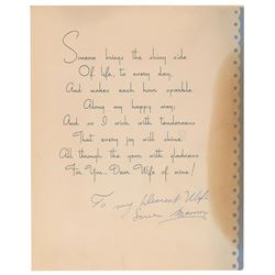 Sam Giancana Signed Christmas Card to His Wife
