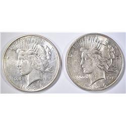 (2) 1926-D PEACE DOLLARS AU