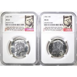 2-1964 KENNEDY HALF DOLLARS, NGC MS-65