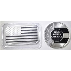AMERICAN FLAG & GOD BLESS AMERICA 1oz SILVER pcs