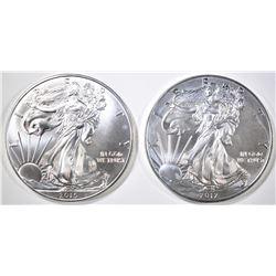 2012 & 15 BU AMERICAN SILVER EAGLES
