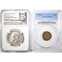 2 COIN LOT:  1912-S LINCOLN CENT PCGS VF-25 &